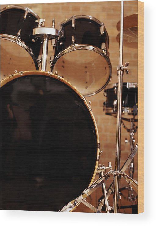 Microphone Stand Wood Print featuring the photograph Close-up Of A Drum Kit by Digital Vision.
