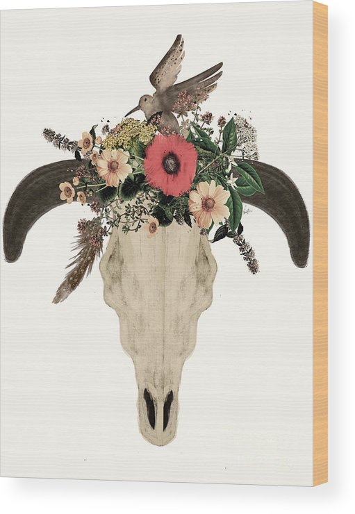Cow Skull Wood Print featuring the painting Cow Skull Flowers by Bri Buckley