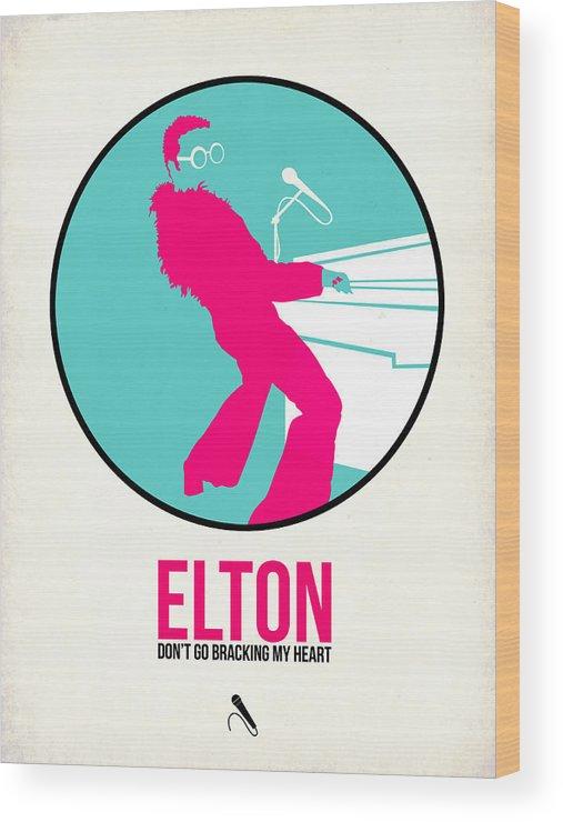 Elton John Wood Print featuring the digital art Elton Poster by Naxart Studio