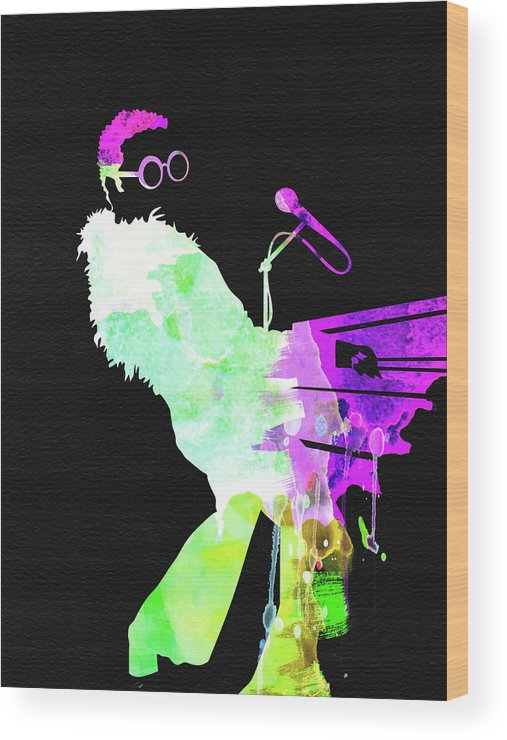 Elton John Wood Print featuring the mixed media Elton Watercolor II by Naxart Studio
