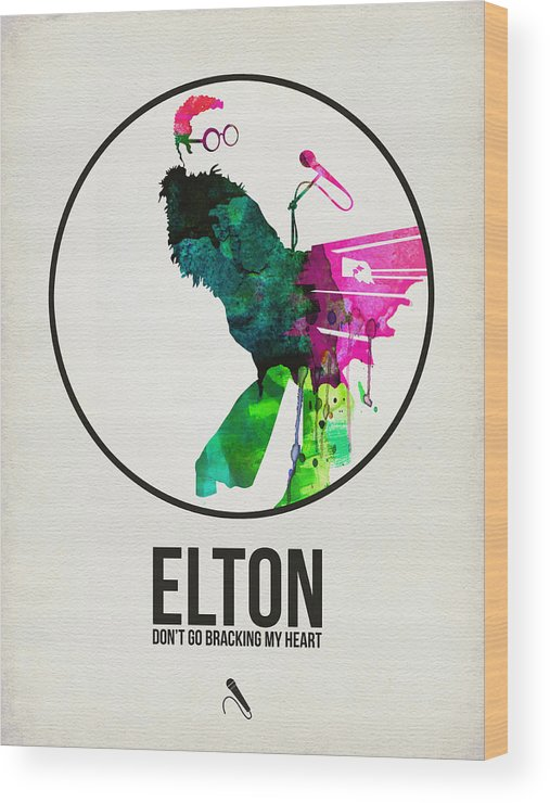 Elton John Wood Print featuring the digital art Elton Watercolor Poster by Naxart Studio