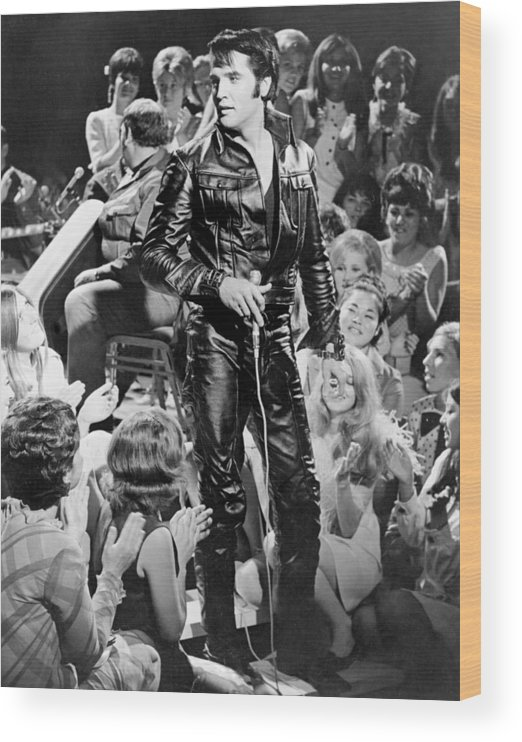 Music Wood Print featuring the photograph Elvis Presley 68 Comeback Special by Michael Ochs Archives