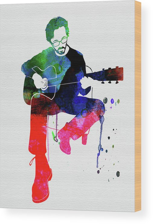 Eric Clapton Wood Print featuring the mixed media Eric Clapton Watercolor by Naxart Studio