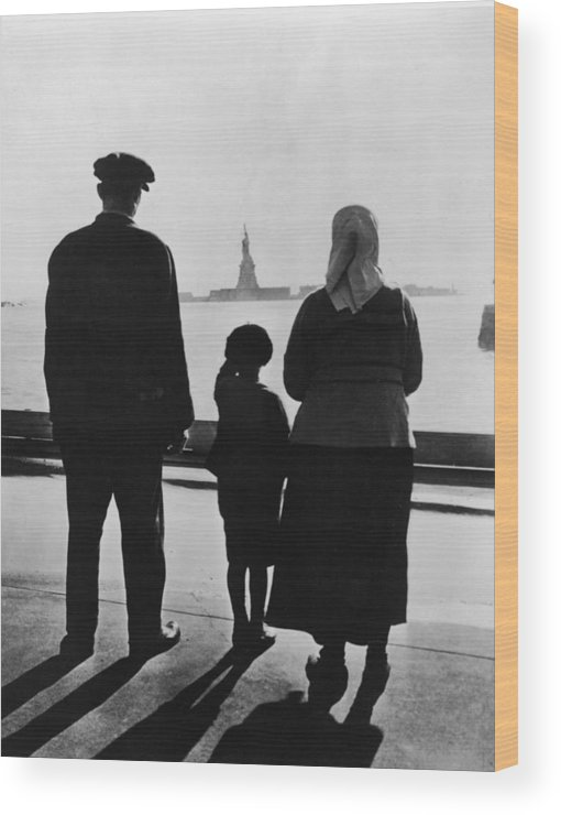 People Wood Print featuring the photograph Family Views Statue Of Liberty From by Fpg