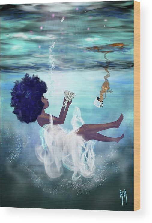Bible Wood Print featuring the painting I aint drowning by Artist RiA