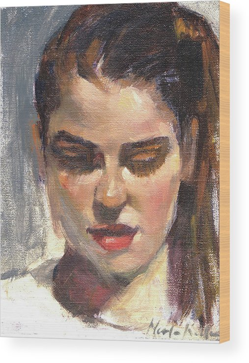 Young Woman Wood Print featuring the painting In Thought by Merle Keller