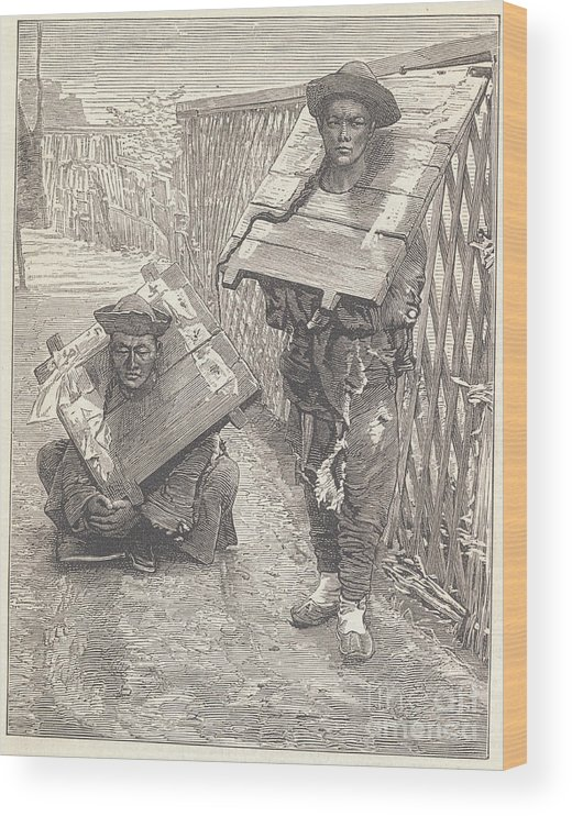 Punishment Wood Print featuring the photograph Judged Suspects Wearing Punishment by Bettmann