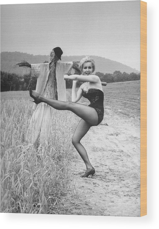Timeincown Wood Print featuring the photograph Julie Newmar by Nina Leen