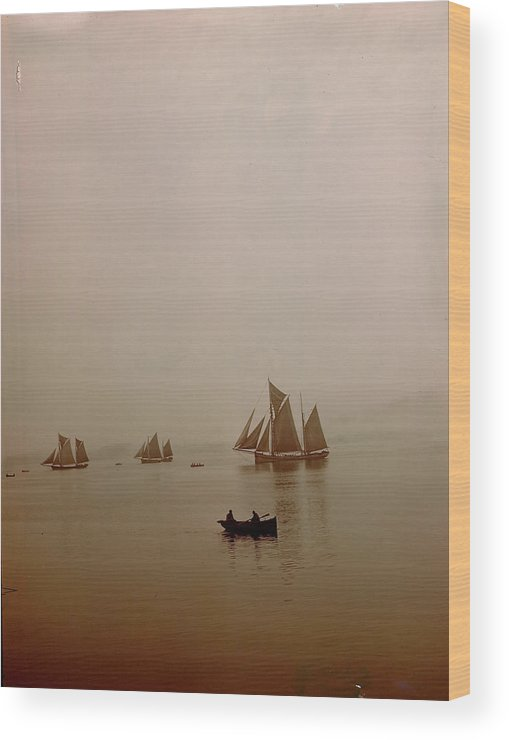 Tranquility Wood Print featuring the photograph Ketch-rigged Fishing Boats On Hazy by Eliot Elisofon