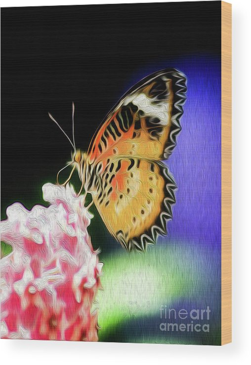 Butterfly Wood Print featuring the digital art Malay Lacewing Butterfly I by Kenneth Montgomery