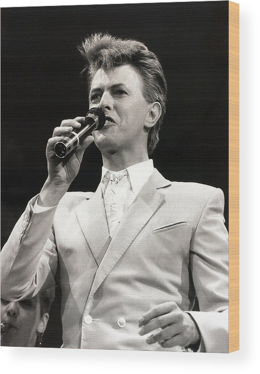 David Bowie Wood Print featuring the photograph Music. Wembley Stadium, London by Popperfoto