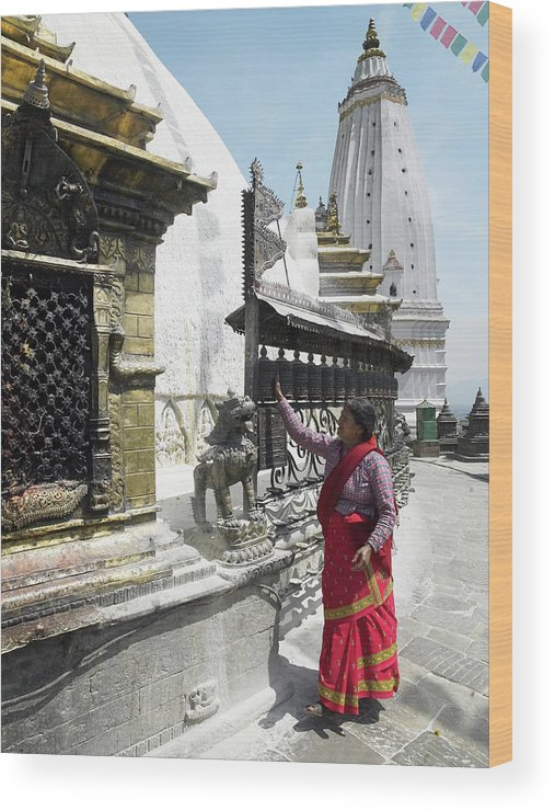 Part Of A Series Wood Print featuring the photograph Nepal, Bagmati, Kathmandu, Local Woman by Steve Allen