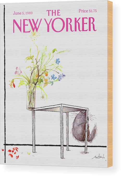 Animal Wood Print featuring the drawing New Yorker Cover June 5 1989 by Ronald Searle