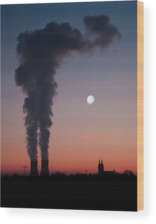 Air Pollution Wood Print featuring the photograph Nuclear Power Station In Bavaria by Michael Kohaupt