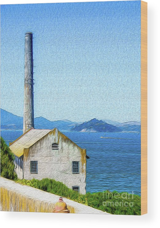 San Francisco Wood Print featuring the digital art Old Building at Alcatraz Island Prison by Kenneth Montgomery