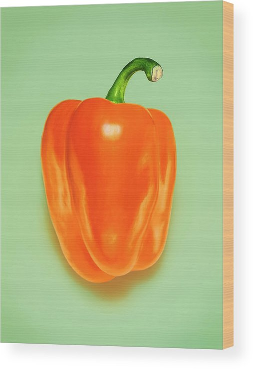 Orange Color Wood Print featuring the photograph Orange Pepper by Adrian Burke