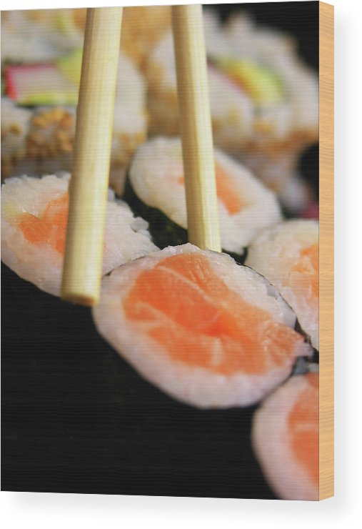 Japanese Food Wood Print featuring the photograph Picking Some Sushi by Caracterdesign