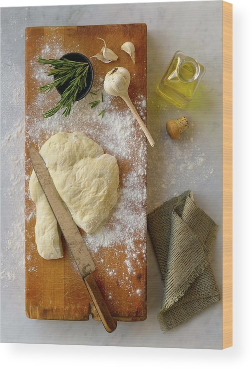 Cutting Board Wood Print featuring the photograph Pizza Dough And Ingredients On Cutting by Brian Macdonald