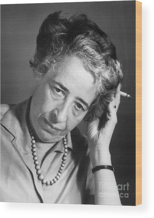 Hannah Arendt Wood Print featuring the photograph Political Theorist Hannah Arendt by Bettmann