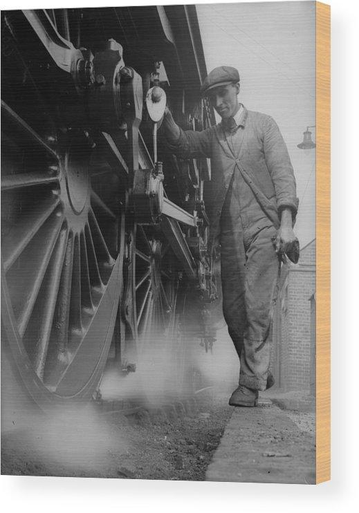 Engine Wood Print featuring the photograph Railwayman by Fox Photos