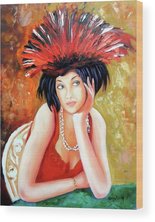 Women Wood Print featuring the painting Red Hat by Jose Manuel Abraham