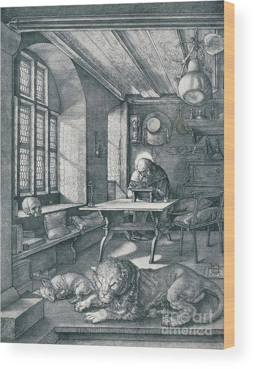 Working Wood Print featuring the drawing St Jerome In His Study, 1514 1906 by Print Collector
