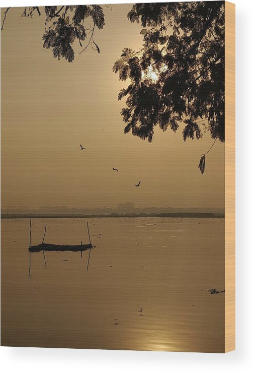 Sunset Wood Print featuring the photograph Sunset by Priya Hazra