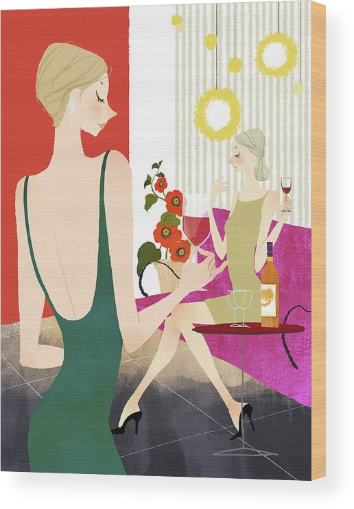 People Wood Print featuring the digital art Two Woman Drinking Wine by Eastnine Inc.