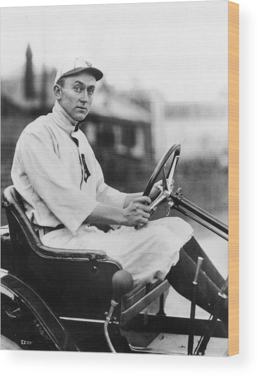 American League Baseball Wood Print featuring the photograph Ty Cobb Driving Car In Uniform by Authenticated News