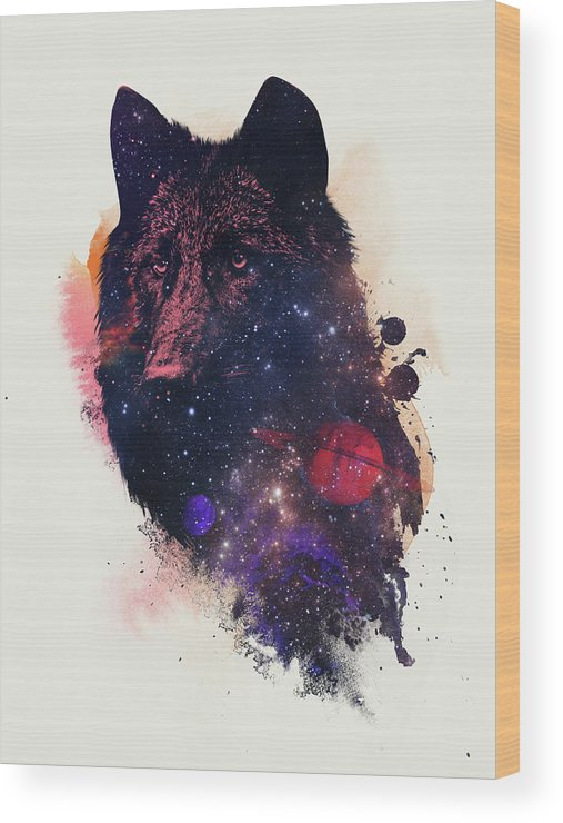 Universal Wolf Wood Print featuring the painting Universal Wolf by Robert Farkas