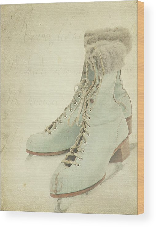 Snow Wood Print featuring the photograph Vintage Teal Skates by My Vintage Gardens Photography