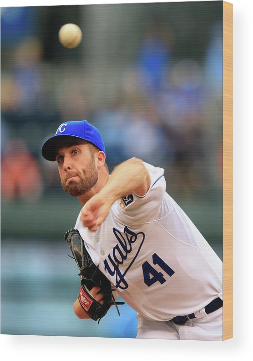 American League Baseball Wood Print featuring the photograph Danny Duffy by Jamie Squire
