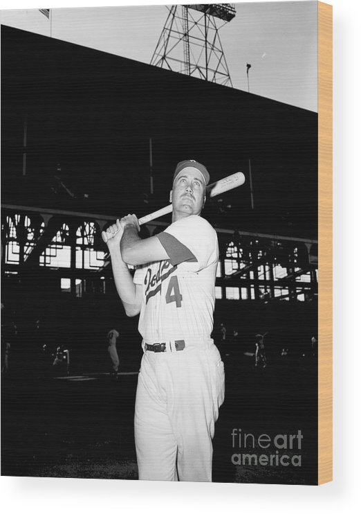 1950-1959 Wood Print featuring the photograph Duke Snider by Olen Collection