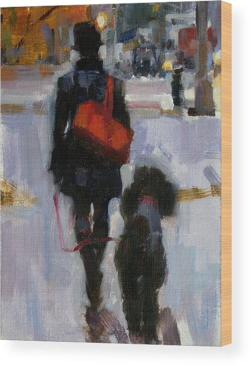 Woman Walking Dog Wood Print featuring the painting Evening Walk by Merle Keller