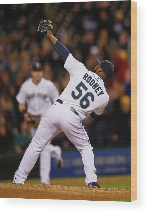 American League Baseball Wood Print featuring the photograph Fernando Rodney by Otto Greule Jr