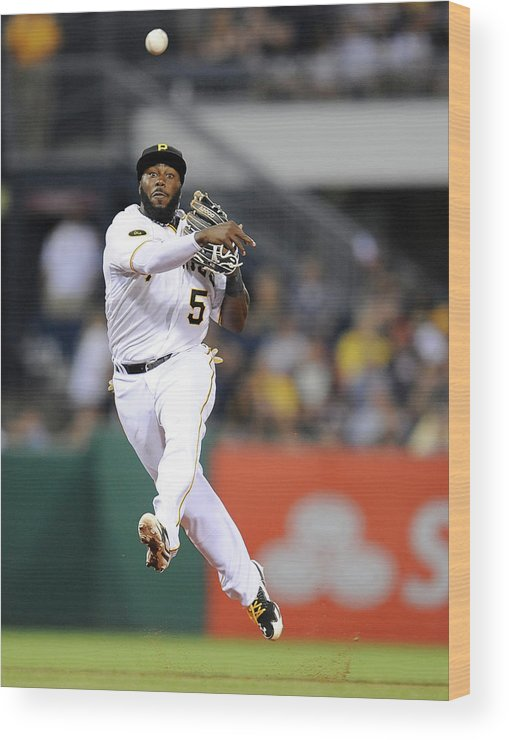 Pnc Park Wood Print featuring the photograph Josh Harrison by Joe Sargent