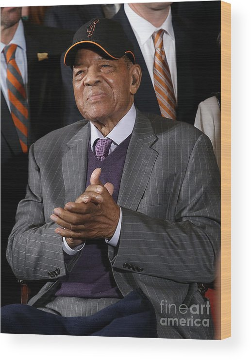 Three Quarter Length Wood Print featuring the photograph Willie Mays by Win Mcnamee