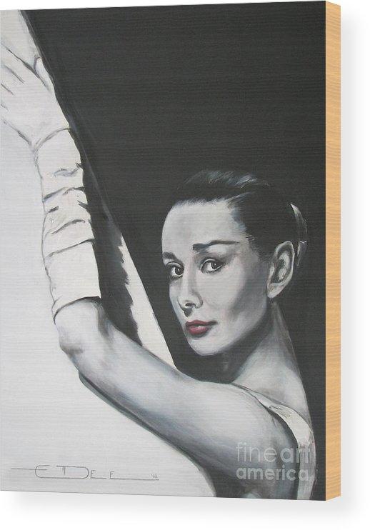 Audrey Hepburn Wood Print featuring the painting Audrey Hepburn by Eric Dee