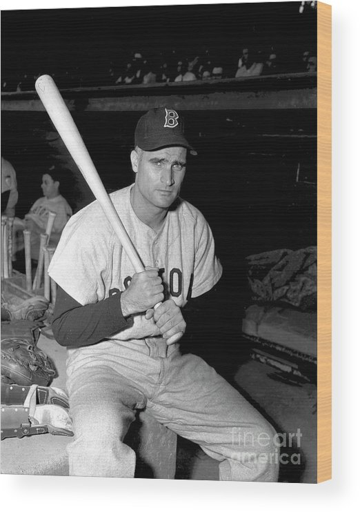 Three Quarter Length Wood Print featuring the photograph Bobby Doerr by Kidwiler Collection