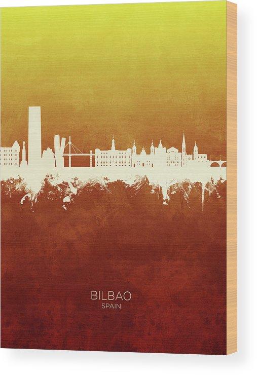 Bilbao Wood Print featuring the digital art Bilbao Spain Skyline by Michael Tompsett
