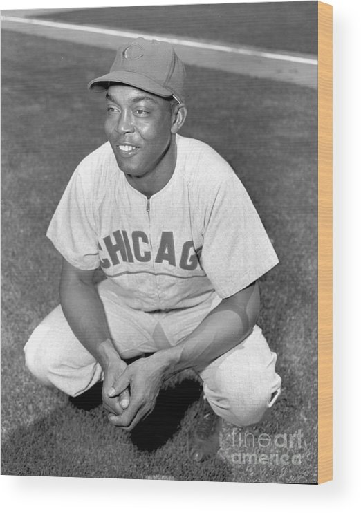 1950-1959 Wood Print featuring the photograph Monte Irvin by Kidwiler Collection