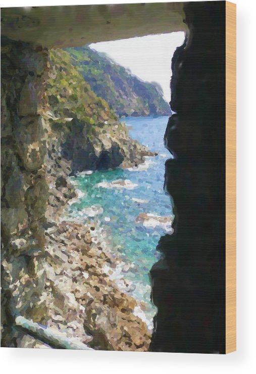 Cinque Terre Wood Print featuring the mixed media Cinque Terre by Asbjorn Lonvig