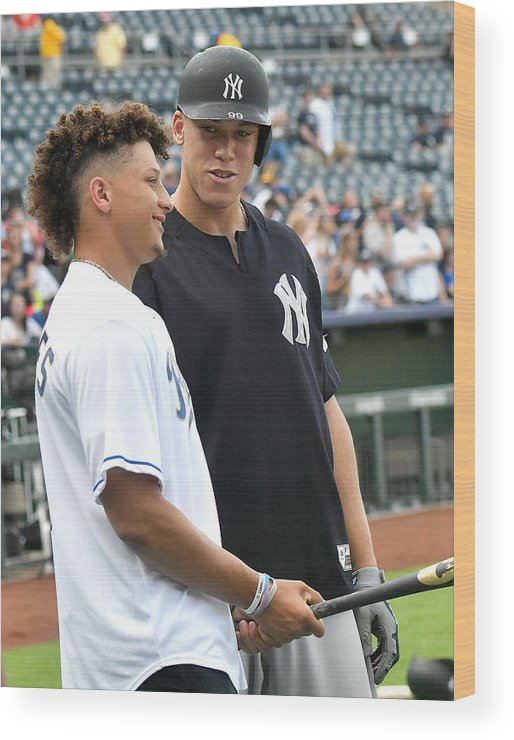 American League Baseball Wood Print featuring the photograph Aaron Judge by Icon Sportswire