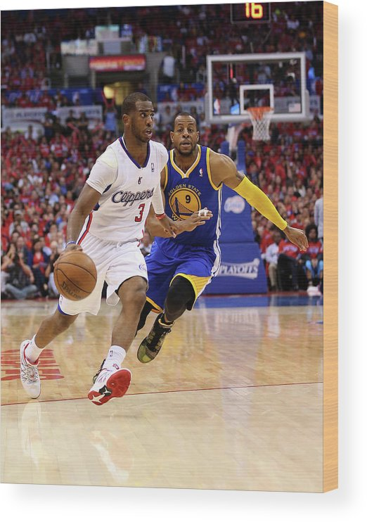 Playoffs Wood Print featuring the photograph Andre Iguodala and Chris Paul by Stephen Dunn