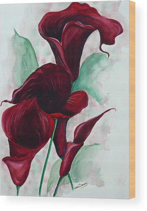 Flower Painting Floral Painting Botanical Painting Tropical Painting Caribbean Painting Calla Painting Red Lily Painting Deep Red Calla Lilies Original Watercolor Painting Wood Print featuring the painting Black Callas by Karin Dawn Kelshall- Best