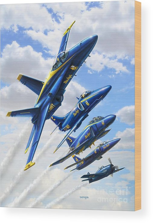 Blue Angels Wood Print featuring the digital art Blue Angels Heritage by Stu Shepherd