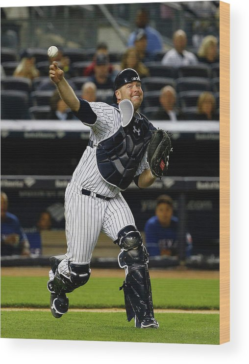 Brian Mccann Wood Print featuring the photograph Brian Mccann by Al Bello