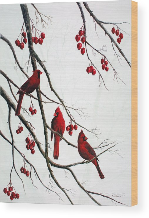 Birds; Cardinals; Trees Wood Print featuring the painting Cardinals And Crabapples by Ben Kiger