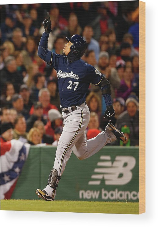 American League Baseball Wood Print featuring the photograph Carlos Gomez by Jared Wickerham
