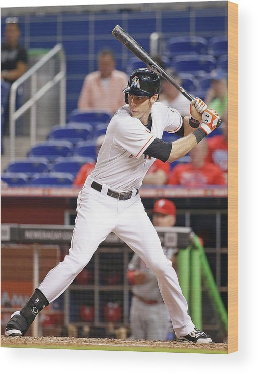 American League Baseball Wood Print featuring the photograph Christian Yelich by Rob Foldy